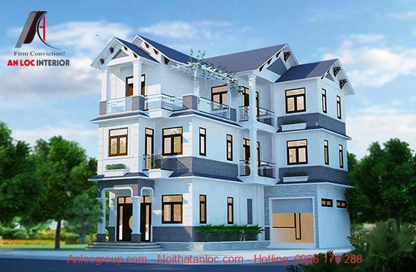 Mẫu thiết kế biệt thự 3 tầng 2 mặt tiền đều có cây xanh tạo cảm giác thoáng đãng, tươi mát
