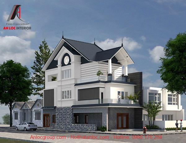 Mẫu biệt thự đẹp 3 tầng 2 mặt tiền hiện đại với gam màu trung tính đi kèm với ô cửa độc đáo