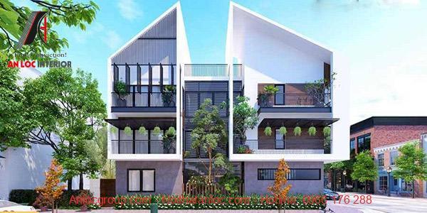 Nhà biệt thự đẹp 3 tầng với lối kiến trúc 2 mái phục vụ nhu cầu kinh danh và sinh hoạt