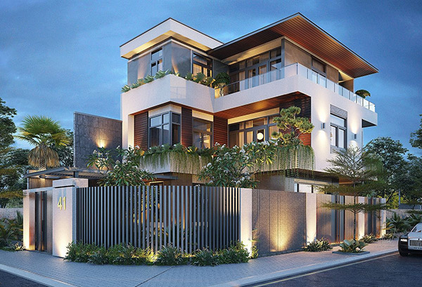 Mẫu thiết kế biệt thự 3 tầng 2 mặt tiền với màu xanh tự nhiên ấn tượng