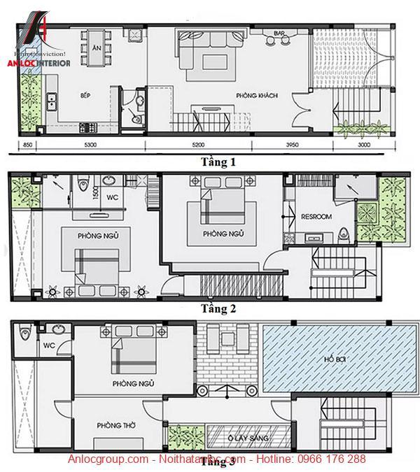 Bản vẽ biệt thự 3 tầng hiện đại chi tiết nhất