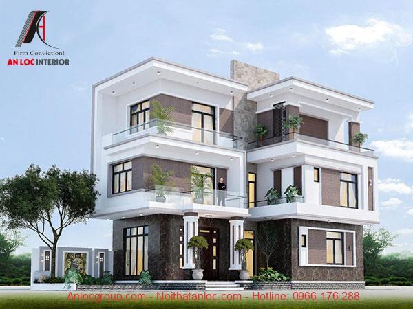 Mẫu thiết kế biệt thự 3 tầng hiện đại với đường nét cá tính, mạnh mẽ