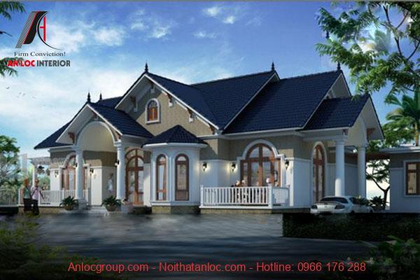 Mẫu biệt thự 1 tầng tân cổ điển với các đường nét tinh tế, độc đáo đến từng chi tiết