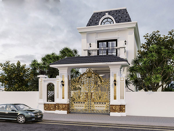 Thiết kế biệt thự 2 tầng tân cổ điển kiểu Pháp với mái vòm đặc trưng