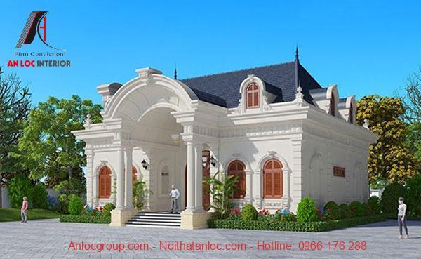 Mẫu biệt thự tân cổ điển 1 tầng có màu sắc mái hài hòa sơn ngoại thất