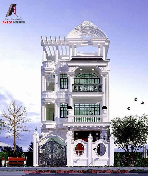Những ô cửa kính của mẫu thiết kế biệt thự tân cổ điển 2 tầng 1 tỷ tạo sức hấp dẫn khó phai