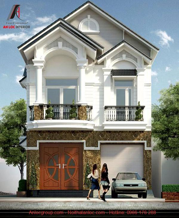 Thiết kế biệt thự tân cổ điển 2 tầng với gam màu đặc trưng đi kèm với khoảng sân sinh hoạt rộng rãi
