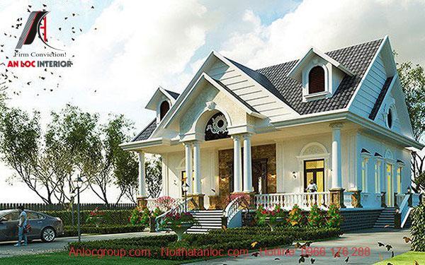 Biệt thự 1 tầng tân cổ điển mái thái đơn giản, hài hòa về màu sắc