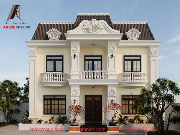 Biệt thự mini 2 tầng tân cổ điển với đường nét tinh tế, sắc nét