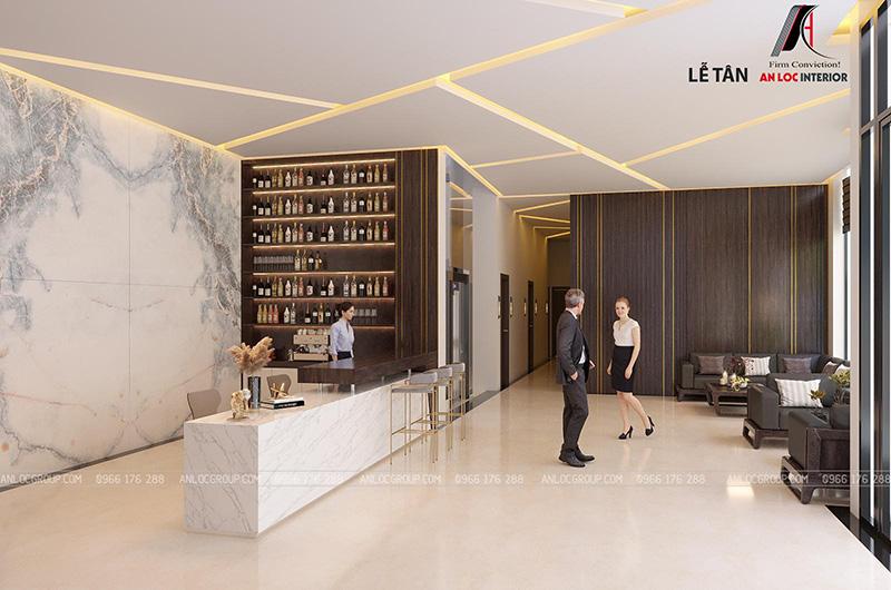 Thiết kế lễ tân khách sạn 280m2 tại Sài Gòn