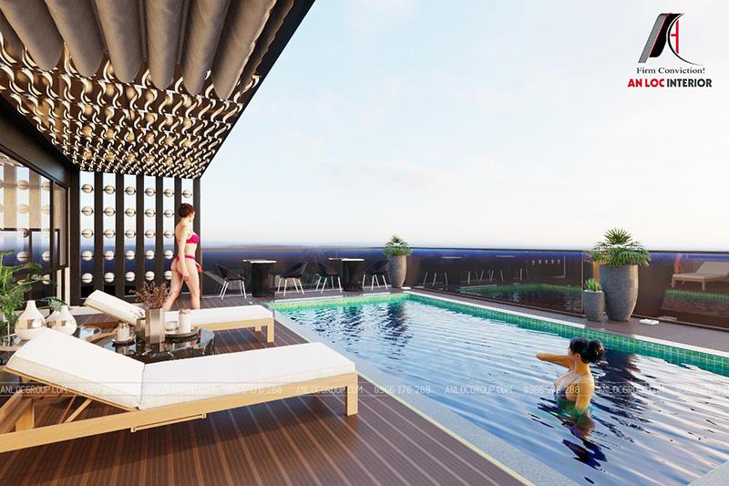 Thiết kế nội thất khách sạn tầng thượng