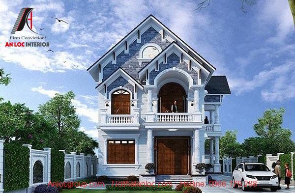 mẫu nhà 2 tầng mái thái đẹp với khoảng sân rộng rãi