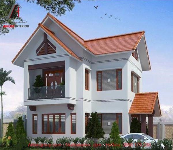 Thiết kế nhà 2 tầng 400 triệu mái thái đảm bảo yếu tố phong thủy