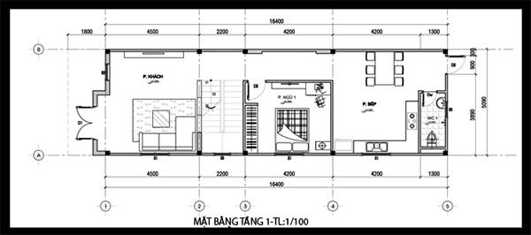 Bản vẽ thiết kế nhà 50m2 ở tầng 1 với 1 phòng ngủ