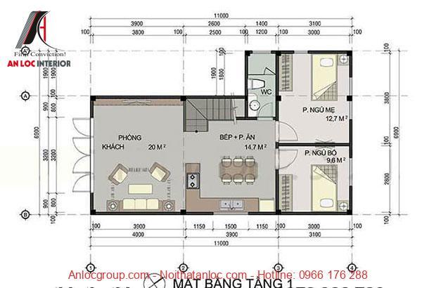 Mặt bằng nhà 2 tầng 60m2 tầng 1