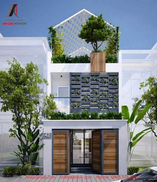 Thiết kế nhà 2 tầng 60m2 màu trắng tinh tế, đơn giản