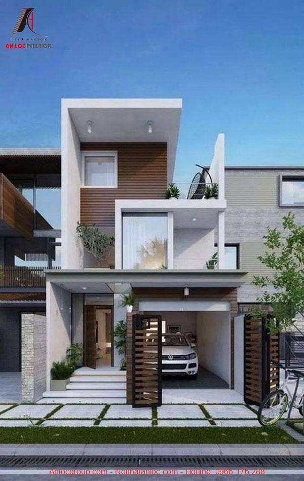 Thiết kế nhà 2 tầng có chỗ để xe tiện lợi