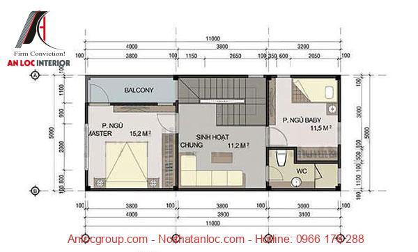Mặt bằng nhà 2 tầng 60m2 tầng 2