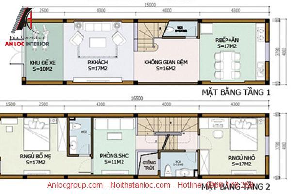 Bản vẽ nhà 2 tầng không gian thoáng rộng, tiện nghi