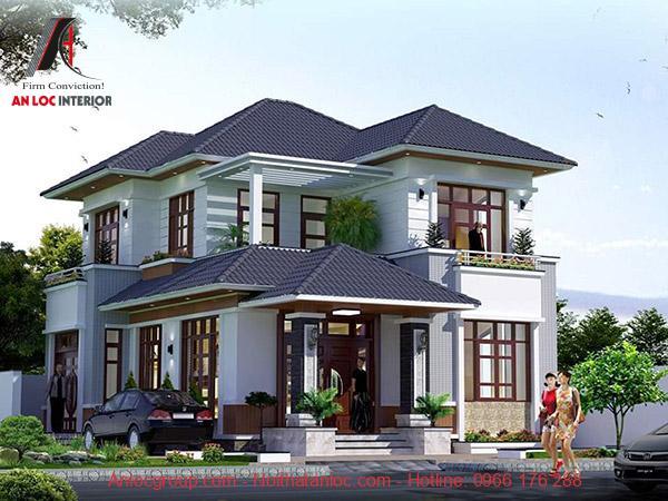 Mẫu thiết kế nhà 2 tầng mặt tiền 7m đẹp sử dụng kiến trúc giật cấp hiện đại