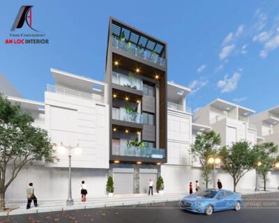 Thiết kế nhà phố 4 tầng 1 tum 6x12m tại Quốc Oai, Hà Nội