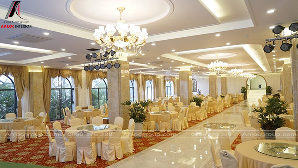 Thiết kế nội thất nhà hàng tiệc cưới với không gian sang trọng, hiện đại