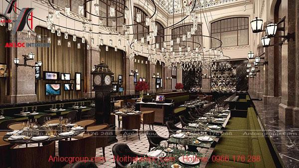 Nhà hàng nổi bật với hệ thống đèn chiếu sáng ấn tượng, đặc sắc