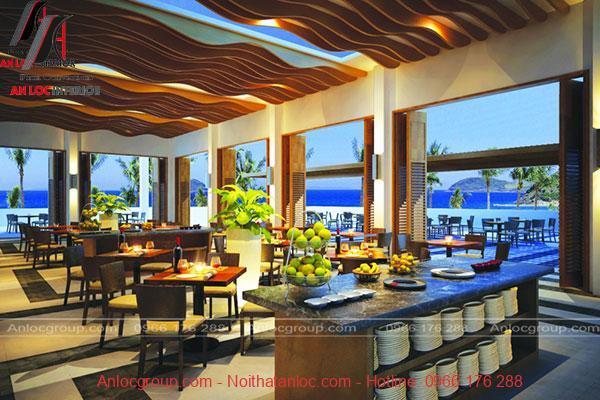 Thiết kế nội thất nhà hàng reort với cách sử dụng màu sắc linh hoạt, uyển chuyển