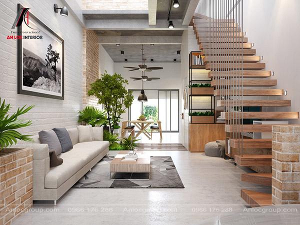 Mẫu 22 - Phòng khách nhà ống đẹp có cầu thang