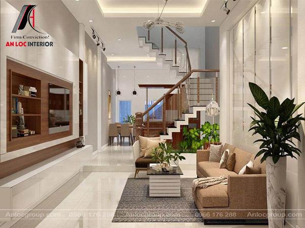 Mẫu 23 - Thiết kế phòng khách có cầu thang