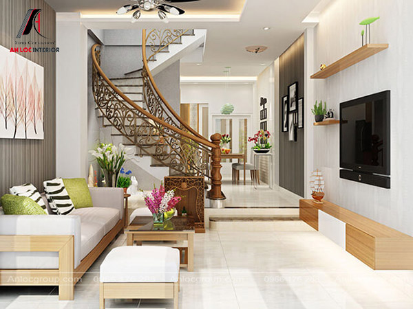 Mẫu 24 - Phòng khách nhà ống có cầu thang kiểu uốn lượn