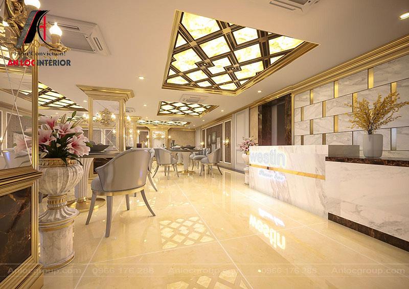 Sảnh khách sạn hiện lên với nét đẹp sang trọng, tinh tế đến từng chi tiết