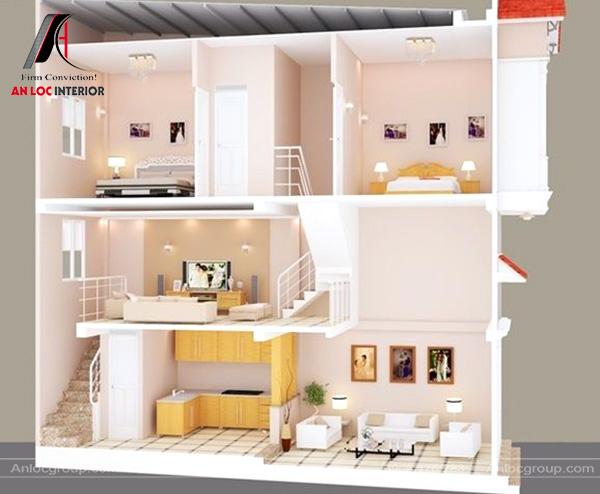 Mẫu 33 - Thiết kế tầng lửng làm phòng khách