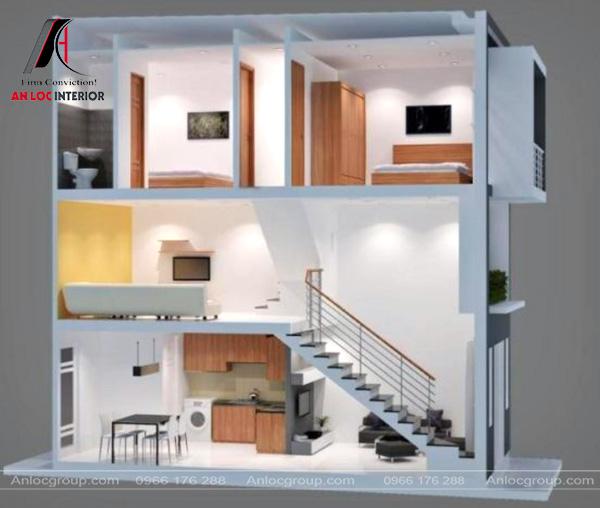 Mẫu 34 - Thiết kế phòng khách tại tầng lửng nhà ống