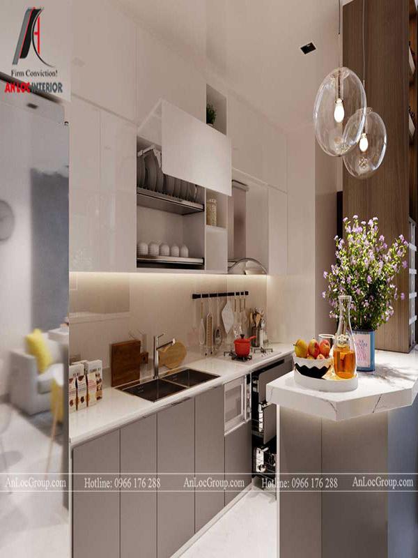 Thiết kế bếp chung cư cần quan tâm đến kết cấu của tủ, vật dụng trong phòng