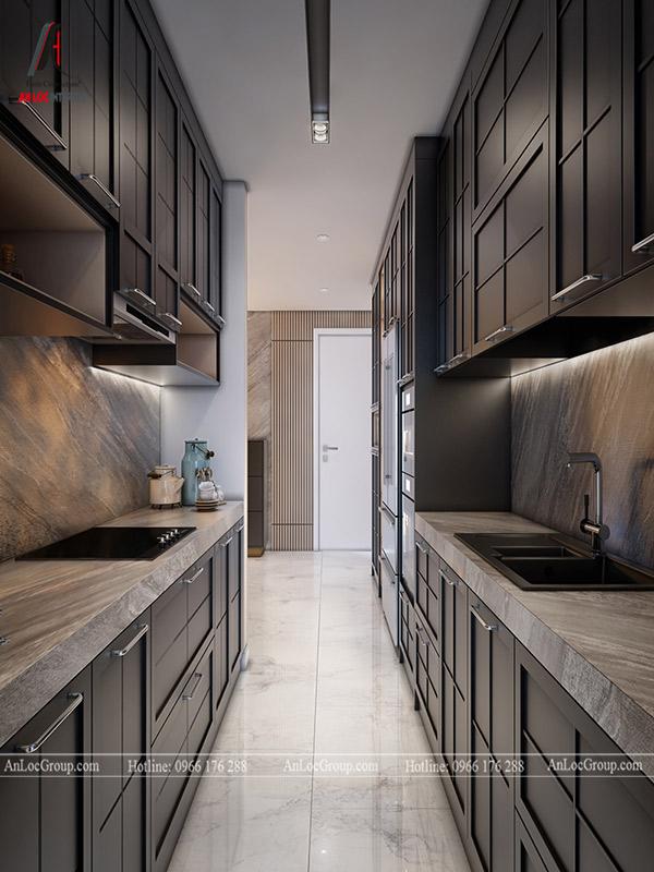 Màu sắc tủ bếp chung cư thường chọn gam màu trung tính để thể hiện sự đẳng cấp, hiện đại