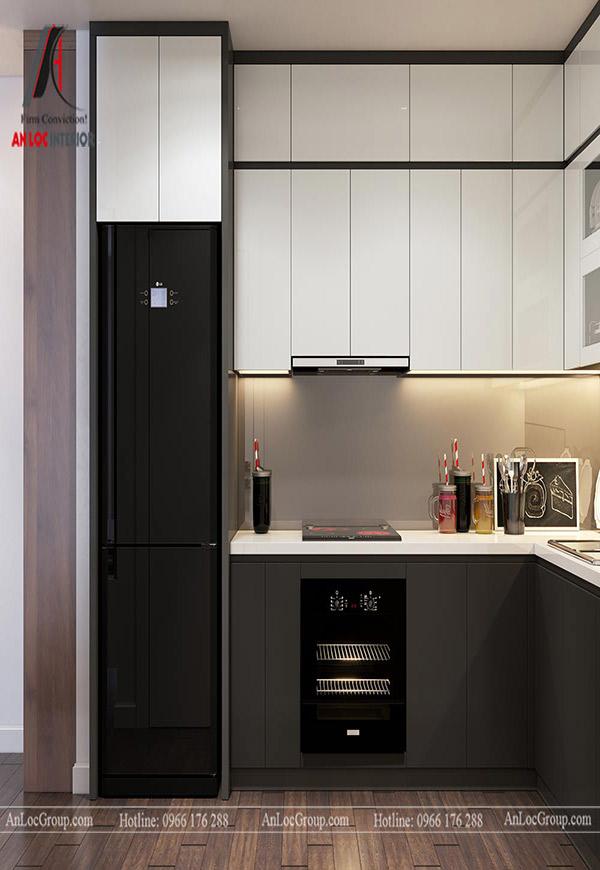 Tủ bếp chữ L được làm từ laminate tạo nên độ chắc chắn, cuốn hút