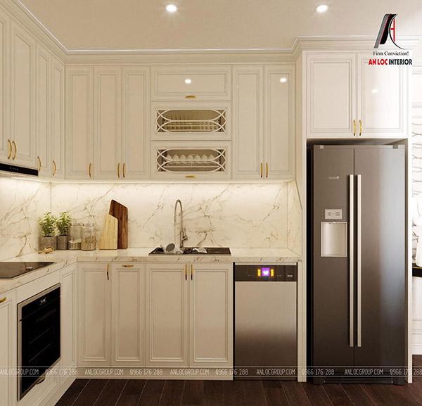 màu sắc của tủ bếp ấn tượng tạo nên không gian nấu nướng an toàn, sạch sẽ