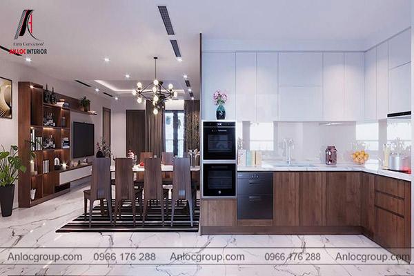 Tủ bếp căn hộ sử dụng chất liệu gỗ mang đến vẻ đẹp sang trọng, hiện đại