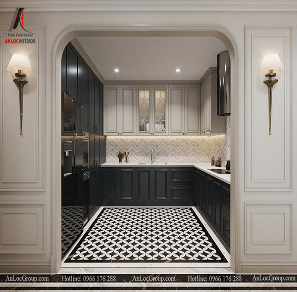Sắc đen - trắng khiến thiết kế tủ bếp căn hộ chung cư cao cấp, hiện đại hơn
