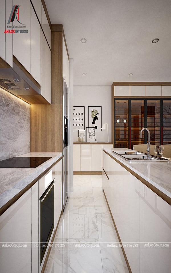 Mẫu tủ bếp căn hộ chung cư theo kiểu dáng đối xứng đẹp, hiện đại