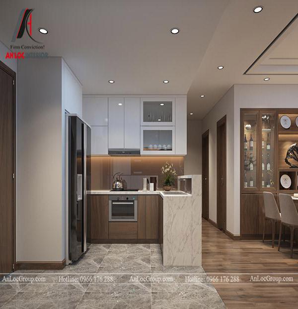 Màu sắc, thiết kế của tủ bếp đảm bảo nhu cầu của gia chủ