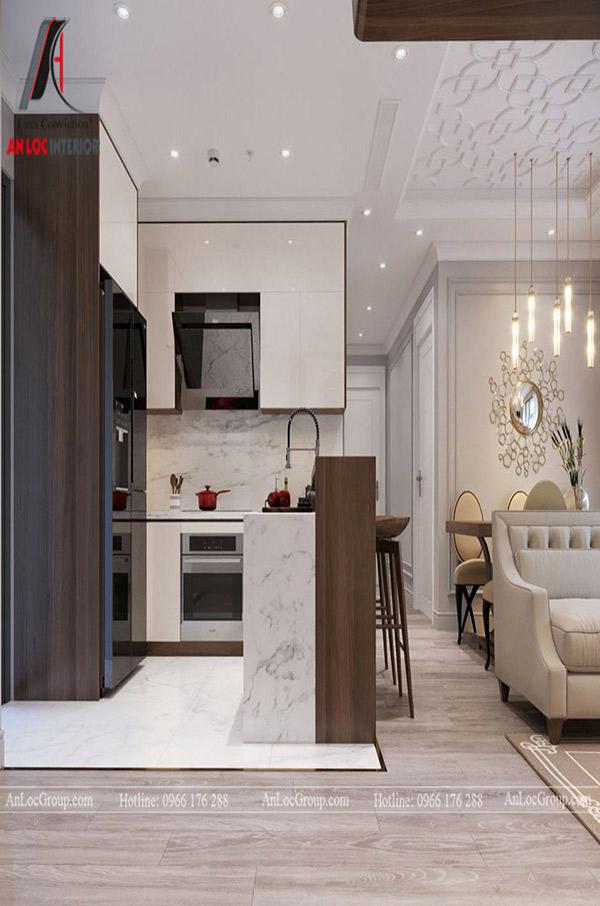 Tủ bếp căn hộ chung cư đơn giản nhưng tích hợp nhiều công ăng trong quá trình sử dụng