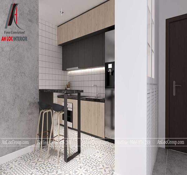 Thiết kế bếp chung cư với quầy bar đơn giản, tinh tế