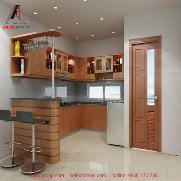 Chất liệu gỗ được sử dụng ở những mẫu tủ bếp chung cư đẹp, giá rẻ