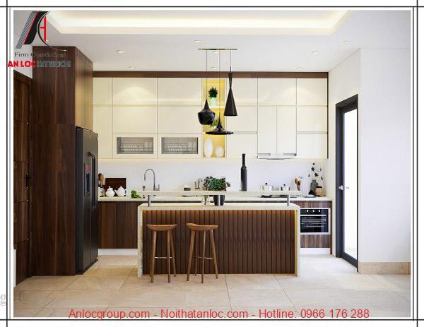 Thiết kế bàn đảo đối xứng với tủ bếp mang đến hiệu quả thẩm mỹ đậm nét