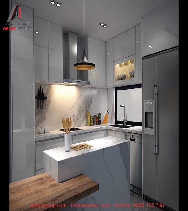 Vật liệu laminate vân đá được ứng dụng hiệu quả trong thiết kế phòng bếp chung cư