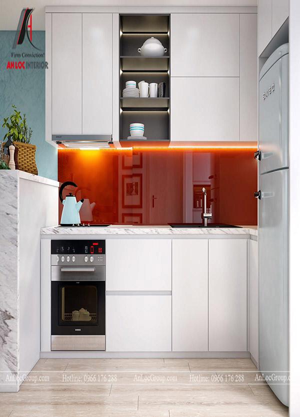 Chọn tủ bếp chữ I cho chung cư cần đảm bảo hài hòa với nội thất tổng thể
