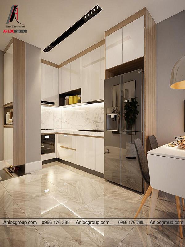 Mẫu tủ bếp chung cư cao cấp được ưa chuộng thời gian gần đây