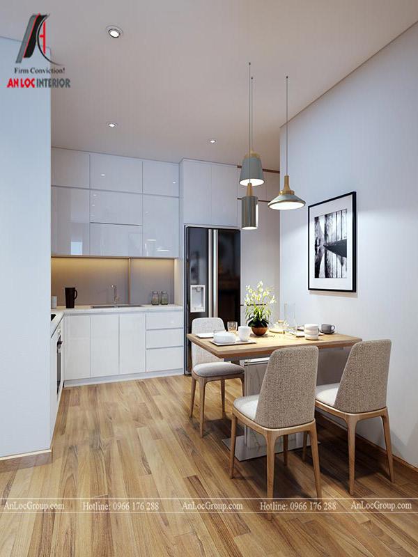 Thiết kế tủ bếp chung cư cần lựa chọn màu sắc hài hòa, hợp lý